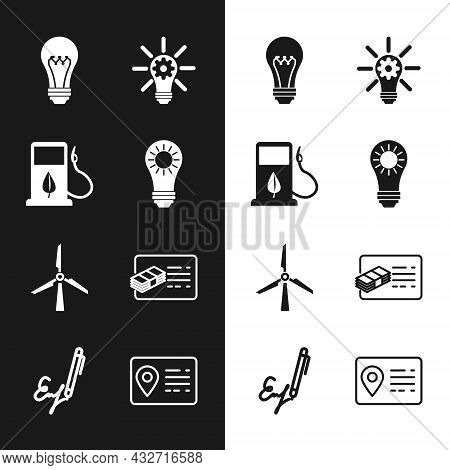 Set Solar Energy Panel, Bio Fuel With Fueling Nozzle, Light Bulb, Gear, Wind Turbine, Financial Docu