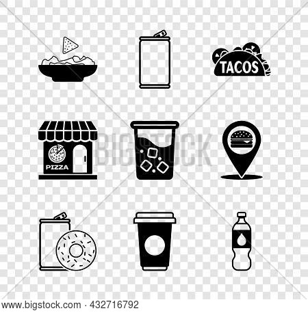 Set Nachos In Plate, Aluminum Can, Taco With Tortilla, Soda And Donut, Coffee Cup, Bottle Water, Piz