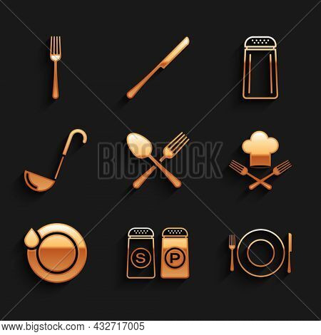 Set Crossed Fork And Spoon, Salt Pepper, Plate, Knife, Chef Hat, Washing Dishes, Kitchen Ladle, And