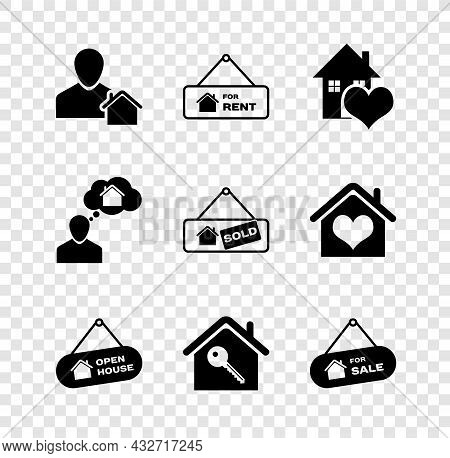 Set Realtor, Hanging Sign With For Rent, House Heart Shape, Open House, Key, Sale, Man Dreaming Abou