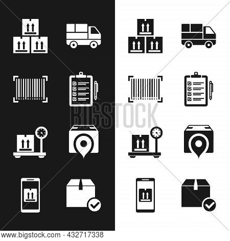 Set Verification Of Delivery List, Barcode, Cardboard Box With Traffic, Delivery Truck Boxes, Scale