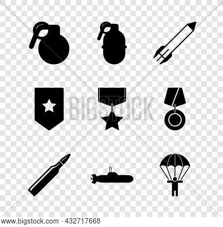 Set Hand Grenade, Rocket, Bullet, Submarine, Parachute, Chevron And Military Reward Medal Icon. Vect