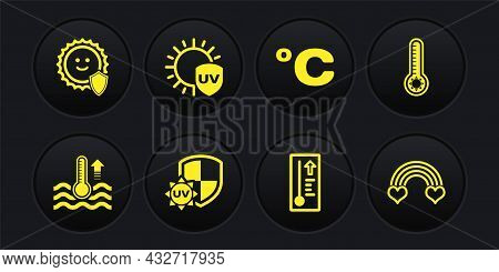 Set Water Thermometer, Meteorology, Uv Protection, Celsius, Rainbow With Heart And Icon. Vector