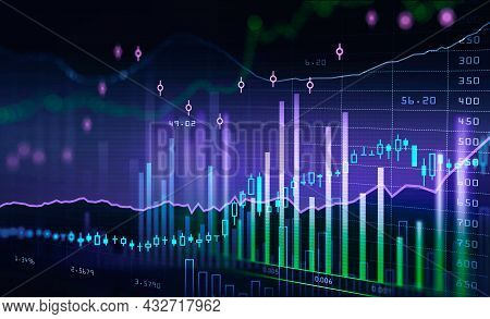 Forex Candlesticks And Financial Rising Graph And Chart With Bar Diagram, Lines And Numbers That Ill