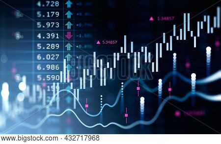 Financial Chart And Rising Graph With Lines And Numbers That Illustrate Stock Market Behaviour. Conc