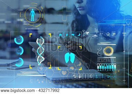 Businesswoman Wearing Beige Pullover Is Working On Tablet. Digital Interface With Icons Of Dna, Toot