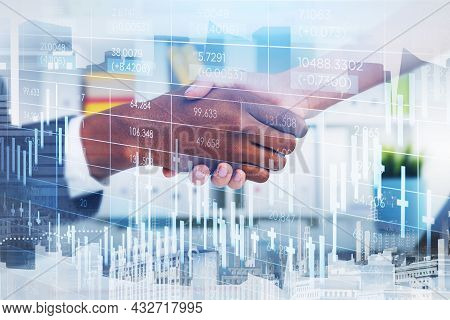 African American Trader Wearing Formal Suit Shakes Hands With Businesswoman. Office Workplace And Ne