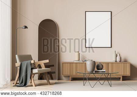 Framed Canvas In A Living Room Interior With An Armchair, A Coffee Table With A Frame, A Sideboard,