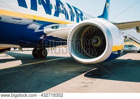 Corfu, Greece - September 2021. Boeing 737 Of Ryanair Arrival To Kerkyra In Airport. Irish Low-cost