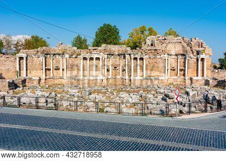 Ruins Of Monumental Fountain (nymphaeum) In Ancient Side, Antalya, Turkey