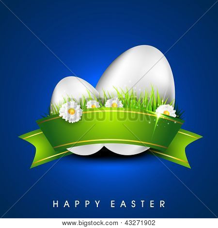 Happy Easter background with glossy silver eggs with green ribbon and flowers.