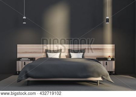 Contemporary Grey Bedroom Interior With Two Pendant Lights, Wooden Bed With A Stylish Headboard, Two