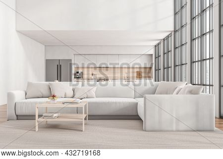 Front View On Kitchen Room Interior With Wooden Floor, Empty White Wall, Sofa, Panoramic Window With
