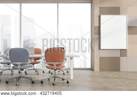 Poster In The Panoramic Conference Room Interior With Blue And Terracotta Office Chairs, Beige Wall