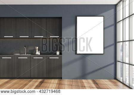Empty Canvas On The Dark Blue Wall Of The Black Wood Kitchen With A Marble Splashback And Metallic H