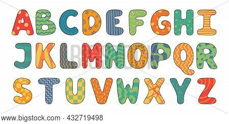 Vector Cartoon English Alphabet. A Collection Of Bright Latin Letters Decorated With Patterns.