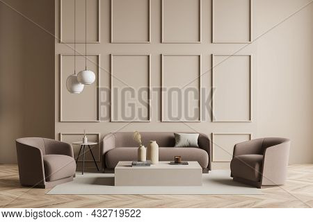 Beige Living Room Interior With A Sofa, Armchairs, Two Coffee Tables, On Trend Pendant Lights, Class