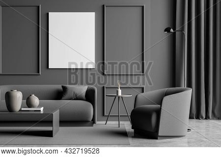 Dark Grey Living Room Interior With An Empty Canvas, On Trend Details, Wall Moulding, A Curtain, A S