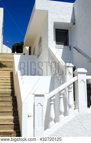 White House And Stairs In Isleta Del Moro Village, Cabo De Gata, Almeria, Spain