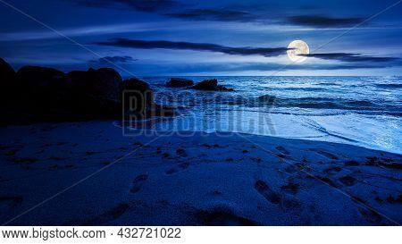 Huge Stones On The Sandy Beach At Night. Wonderful Velvet Season Vacation On The Black Sea In Full M