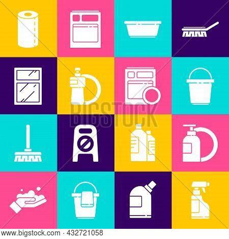 Set Spray Bottle With Detergent Liquid, Dishwashing And Plate, Bucket, Plastic Basin, Cleaning Servi