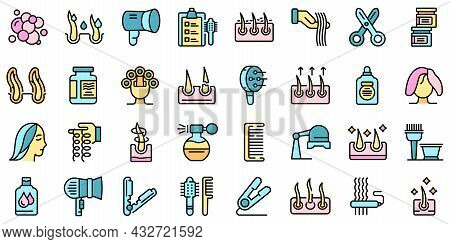 Curly Hair Icons Set. Outline Set Of Curly Hair Vector Icons Thin Line Color Flat Isolated On White