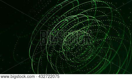 Abstract Sci-fi Background With Glow Particles Form Curved Lines, Surfaces, Hologram Structures Or V
