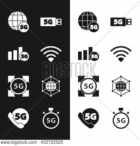 Set Wi-fi Wireless Network, 5g, Modem, Social, Digital Speed Meter And Phone With Icon. Vector