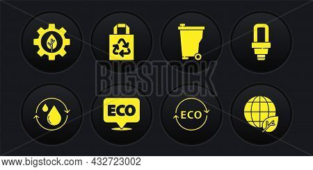 Set Recycle Clean Aqua, Led Light Bulb, Label For Eco Healthy Food, Trash Can, Paper Bag With Recycl