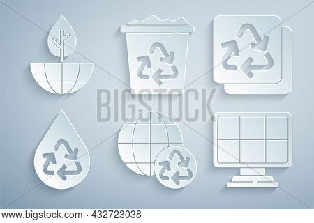 Set Planet Earth And Recycling, Recycle, Clean Aqua, Solar Energy Panel, Bin With Recycle And Earth