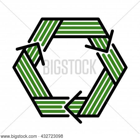 Recycle Vector Hexagon Geometric Icon In Modern Geometric Linear Style Isolated On White, Contempora