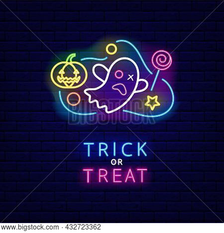 Halloween Ghost With Pumpkin And Candy Neon Banner. Trick Or Treat Text. Night Bright Card. Outer Gl