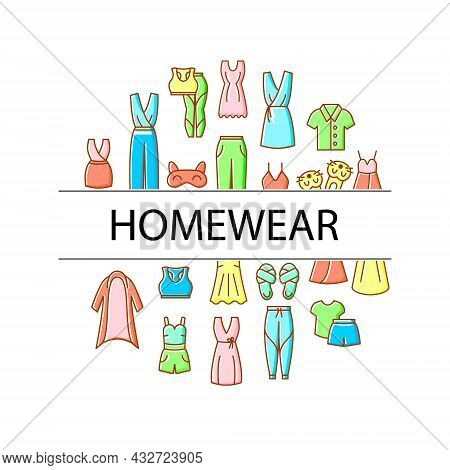 Homewear Circle Layout With Flat Icons And Headline. Domestic Garment. Comfy Clothes. Sleep Mask. Ni
