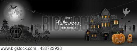 Halloween Banner With Haunted House, Pumpkins And Old Carriage With Horses