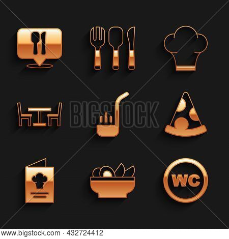 Set Kitchen Ladle, Nachos In Plate, Toilet, Slice Of Pizza, Cookbook, Wooden Table With Chair, Chef