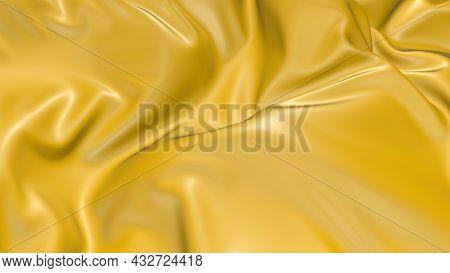 3d Render Beautiful Folds Of Light Yellow Silk In Full Screen, Like A Beautiful Clean Fabric Backgro