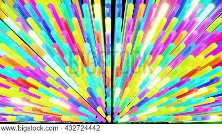 3d Render. Abstract Festive Bg With Rows Of Cylinders On Plane Flashing Neon Multicolored Light Rand