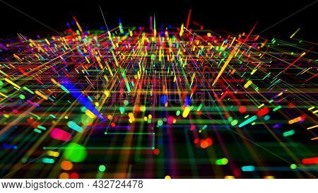 3d Render. Sci-fi Bg Of Glow Multicolor Particles Form Lines Like Electrical Circuit Or Microcircuit