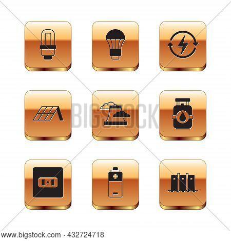 Set Led Light Bulb, Electrical Outlet, Battery, Nuclear Power Plant, Solar Energy Panel, Recharging,