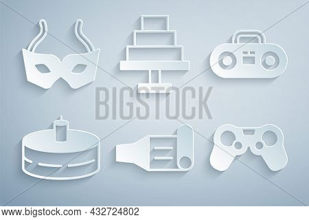 Set Birthday Party Horn, Home Stereo With Two Speakers, Cake Burning Candles, Gamepad, And Festive M