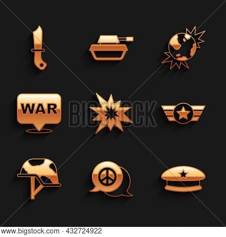 Set Bomb Explosion, Peace, Military Beret, Star American Military, Helmet, The Word War, Explosive P