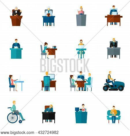 Sedentary Life Inactive Lifestyle Passive Living Icons Flat Set Isolated Vector Illustration