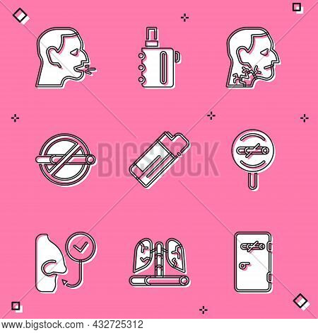 Set Man Coughing, Electronic Cigarette, Throat Cancer, No Smoking, Lighter, Healthy Breathing And Di