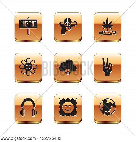 Set Peace, Headphones, Lsd Acid Mark, Cloud, Flower, Marijuana Joint, Spliff, The Heart World - Love