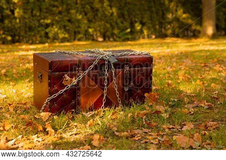 Treasure Chest Quest Purpose In Fairy Autumn Forest Outdoor Place Fable Concept Photography