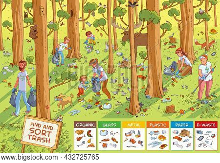 Find Hidden Objects In The Picture. Find And Sort The Trash. Family Collecting Garbage In The Forest