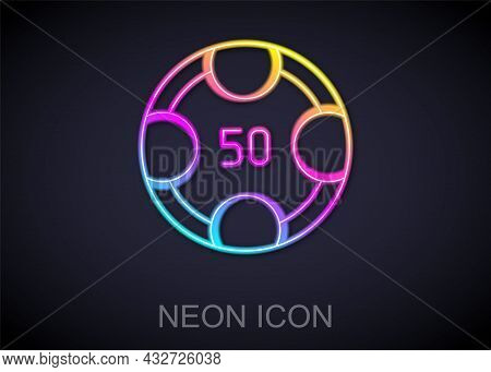 Glowing Neon Line Casino Chips Icon Isolated On Black Background. Casino Gambling. Vector