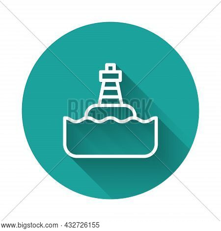 White Line Floating Buoy On The Sea Icon Isolated With Long Shadow Background. Green Circle Button.