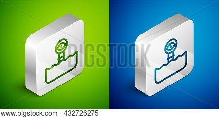 Isometric Line Periscope In The Waves Above The Water Icon Isolated On Green And Blue Background. Si