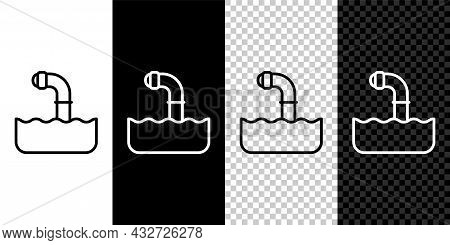 Set Line Periscope In The Waves Above The Water Icon Isolated On Black And White, Transparent Backgr